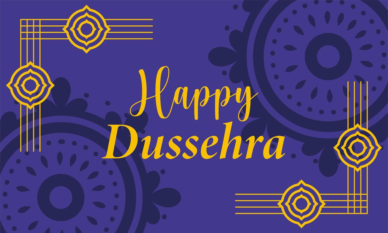 feliz festival dussehra da tipografia da índia e formas de ouro vetor
