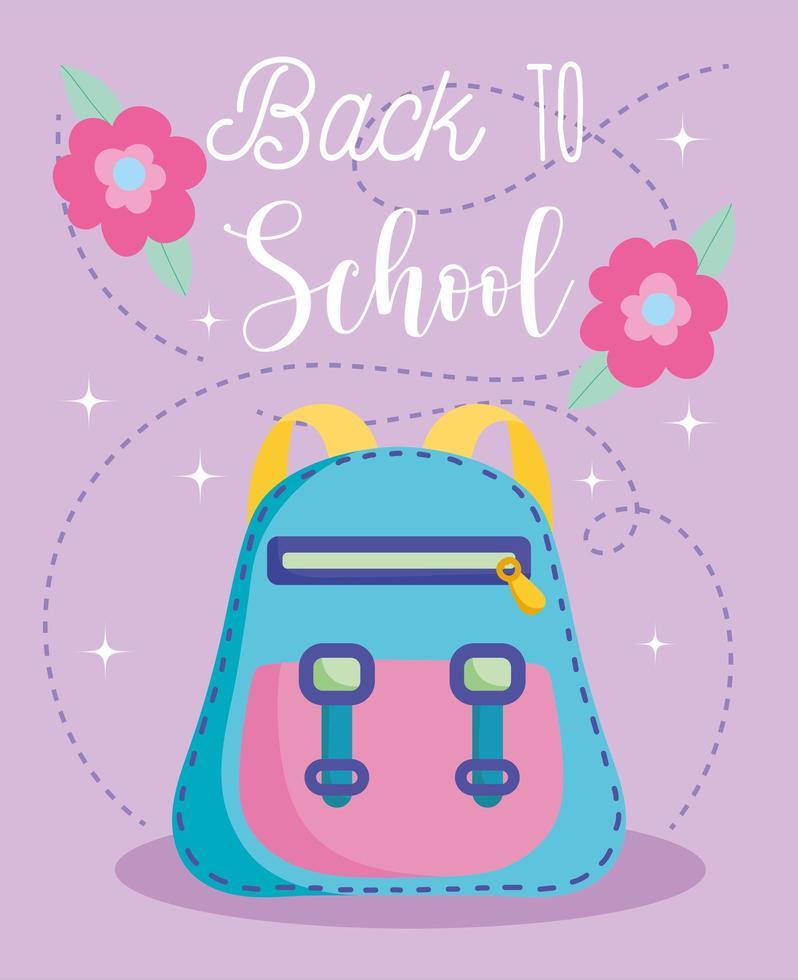 de volta às aulas, mochila e flores vetor