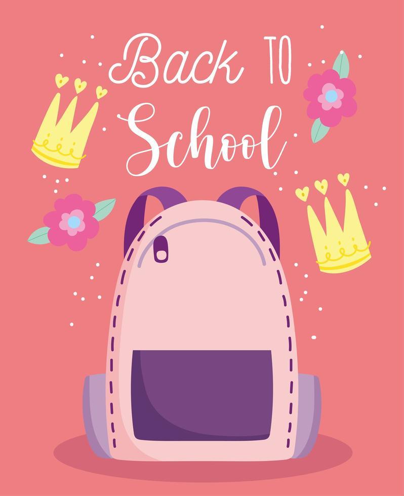 de volta às aulas, mochila, flores e coroas vetor