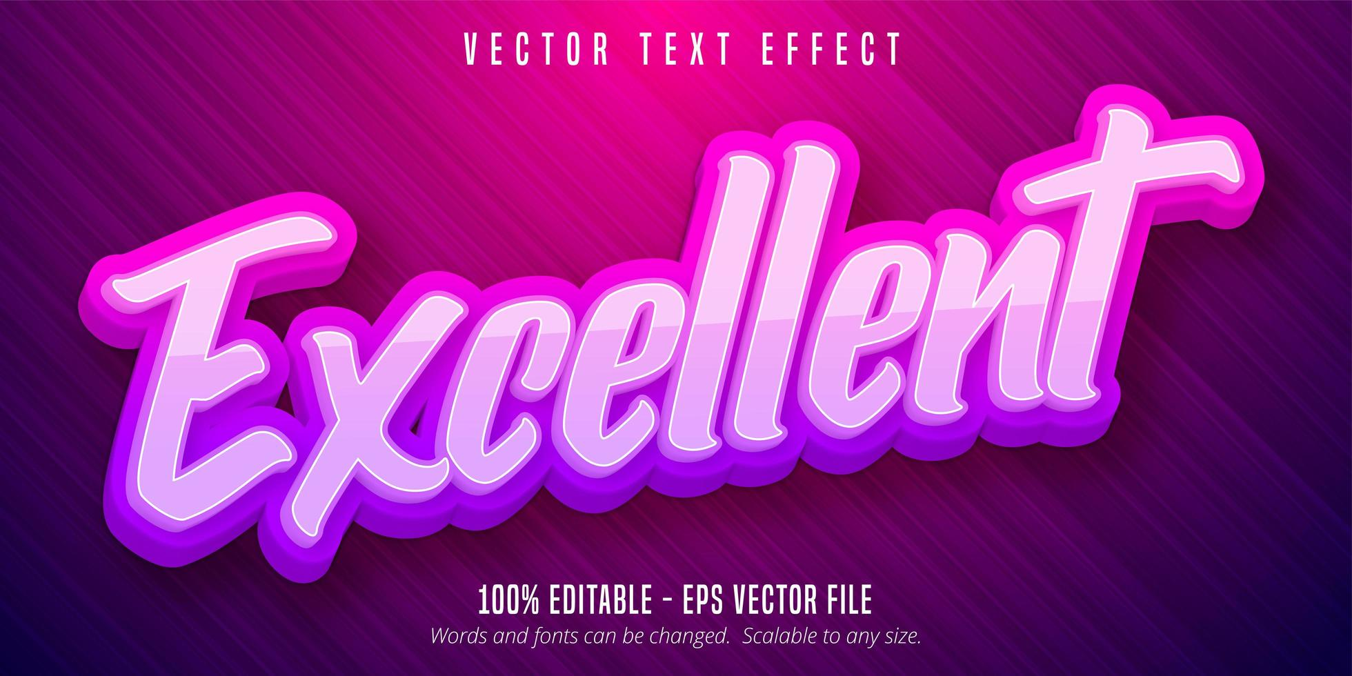 excelente efeito de texto rosa roxo vetor