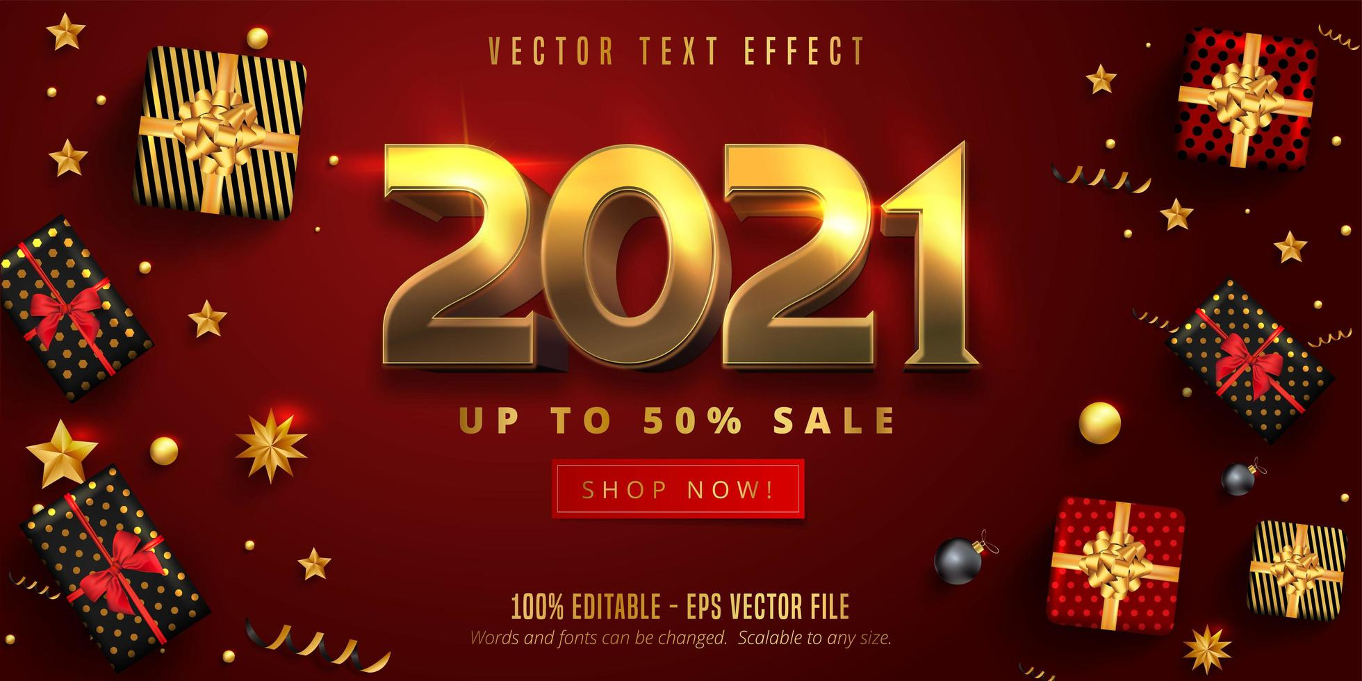 Pôster de Natal dourado 2021 brilhante com presentes vetor