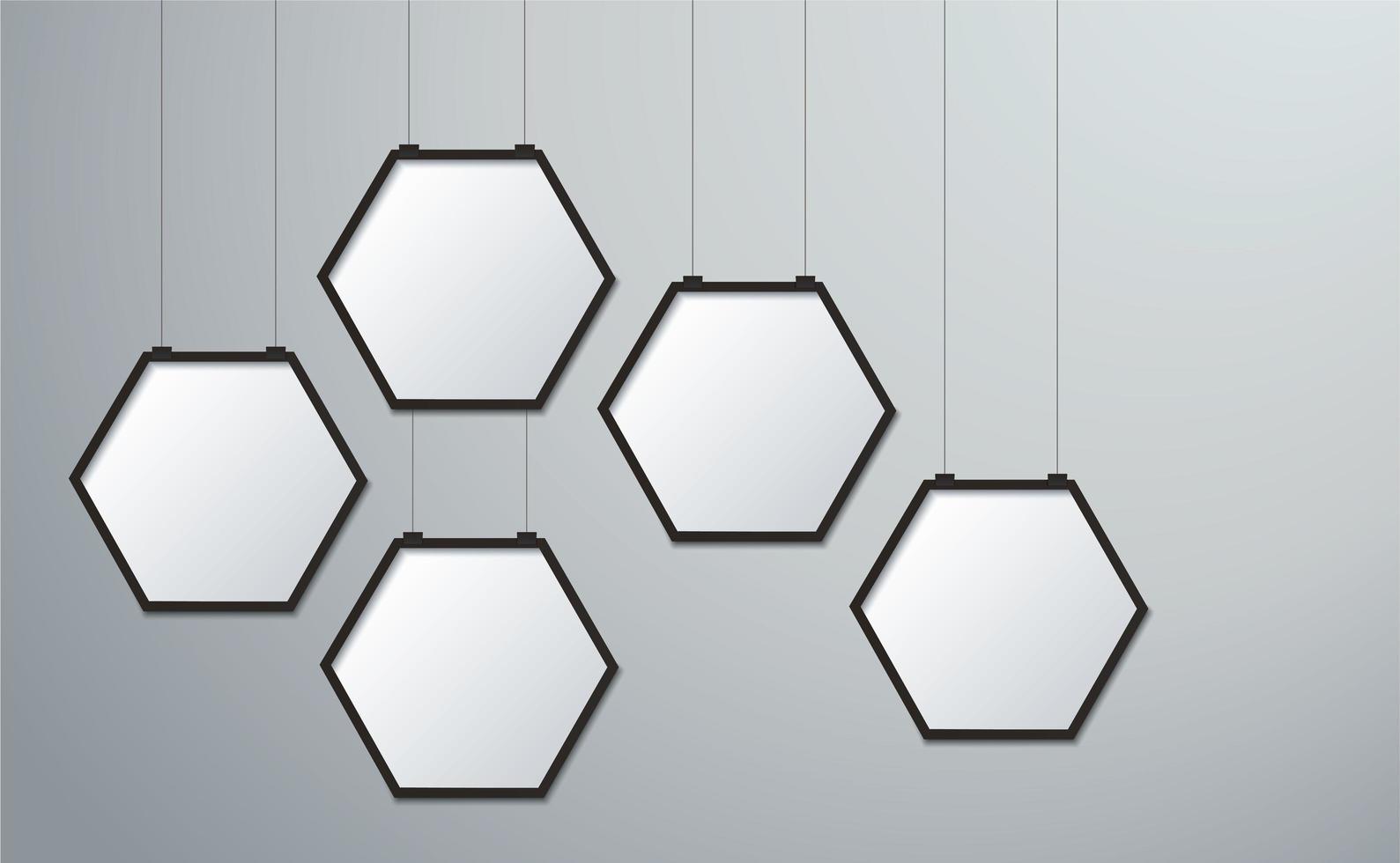 conjunto de imagens de moldura hexágono pendurado vetor