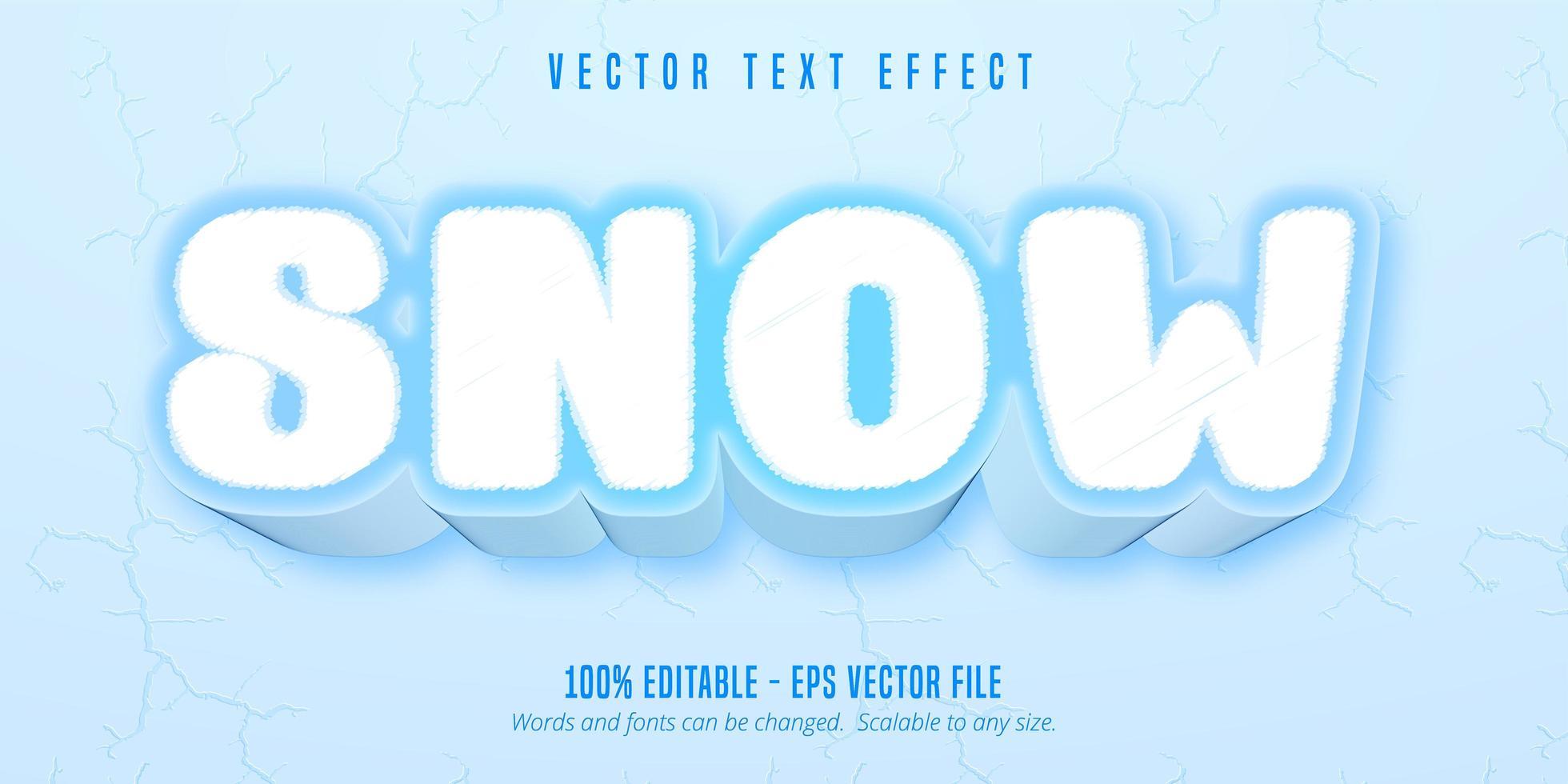 efeito de texto editável de estilo de jogo de desenho animado de neve vetor