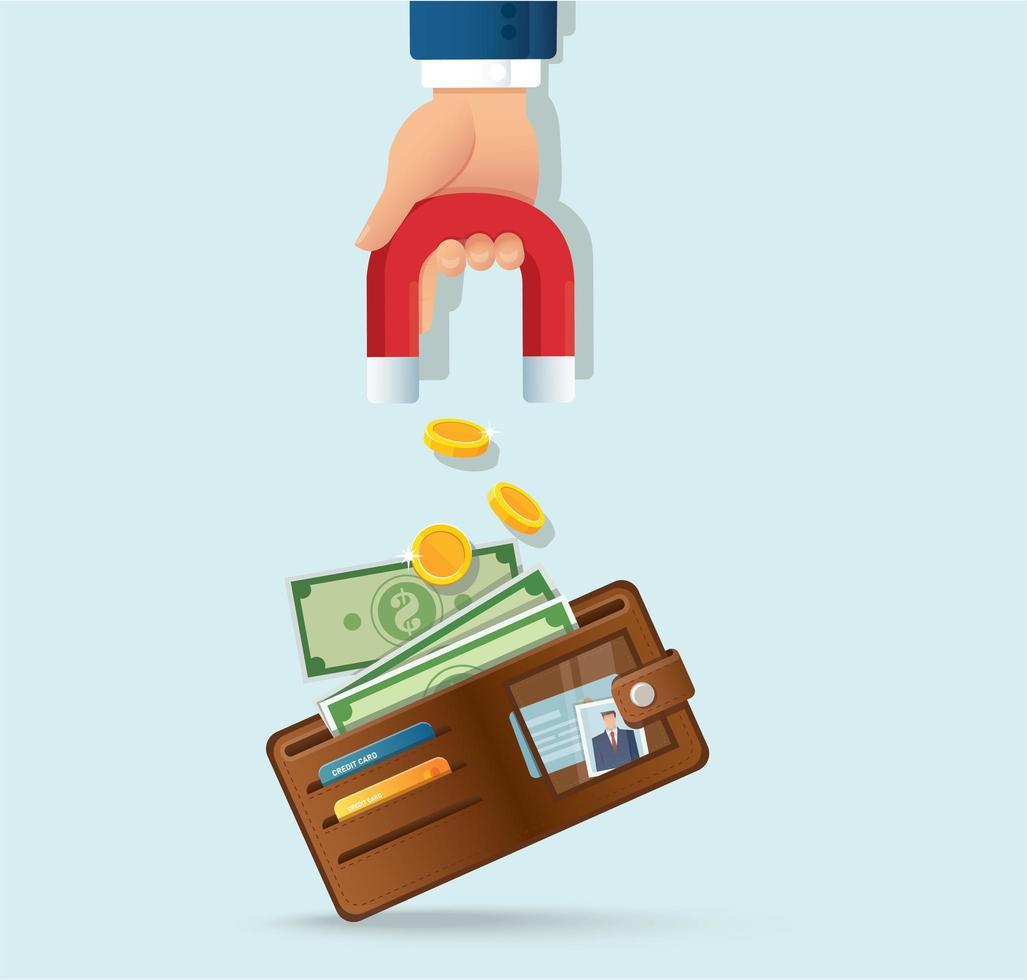 mão segurando um ímã atraindo dinheiro da carteira vetor