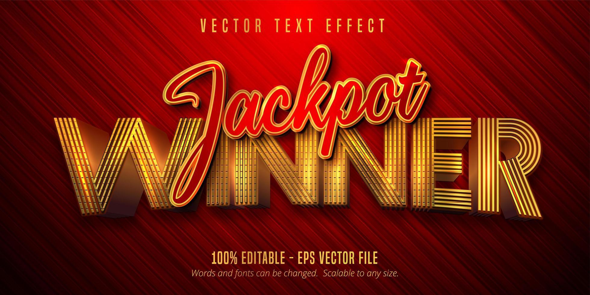 texto vencedor do jackpot efeito de texto dourado brilhante vetor