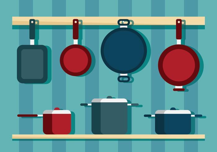 Utensílios de cozinha e Pan Vectors
