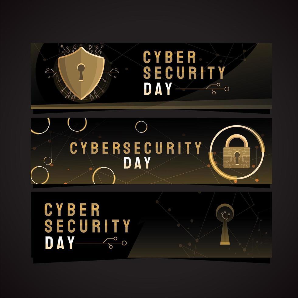 segurança poderosa no dia da segurança cibernética vetor