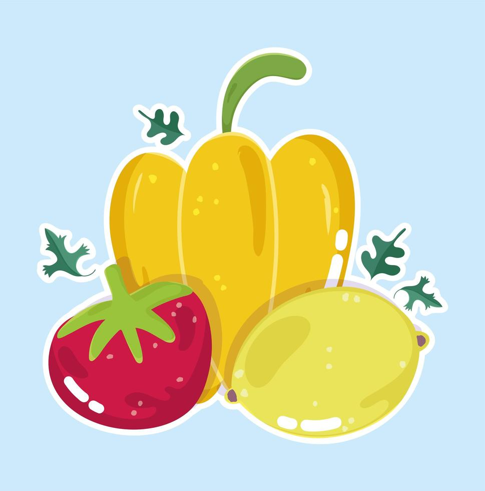 alimentos orgânicos frescos. pimenta, tomate e limão vetor