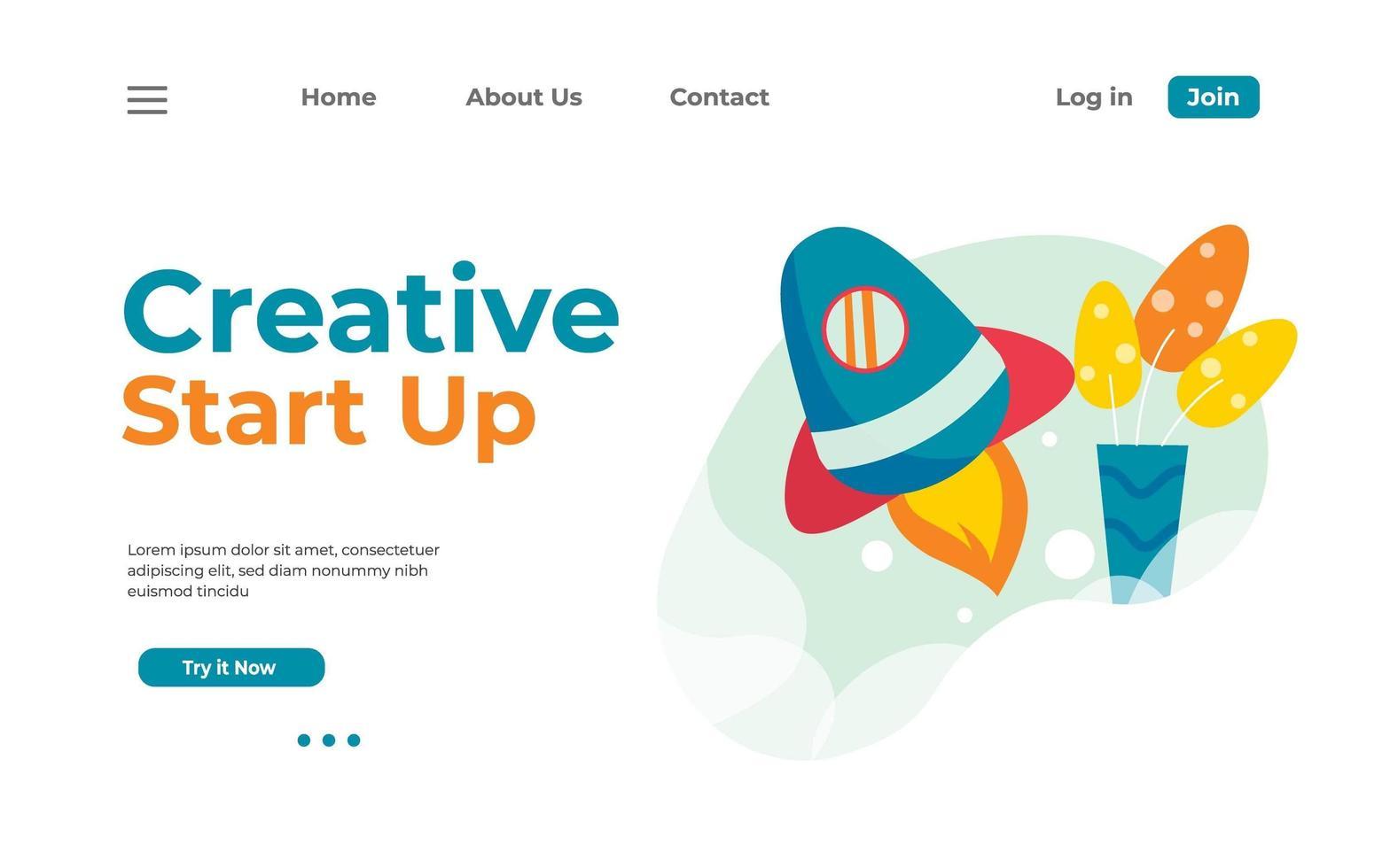 página inicial de inicialização do criativo vetor