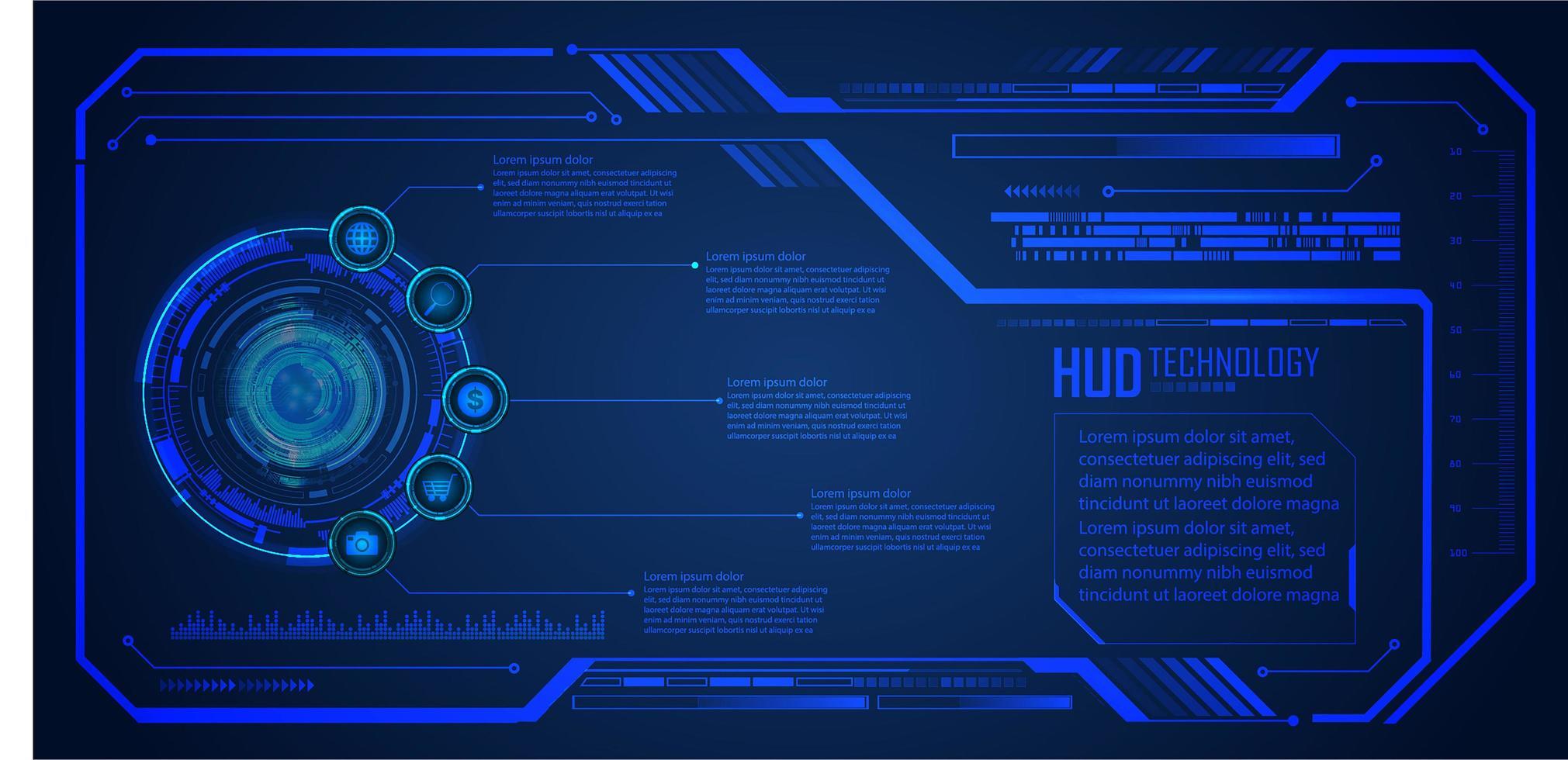 placa de circuito binário tecnologia futura hud vetor
