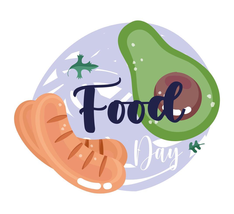 comida fresca. abacate e salsichas vetor