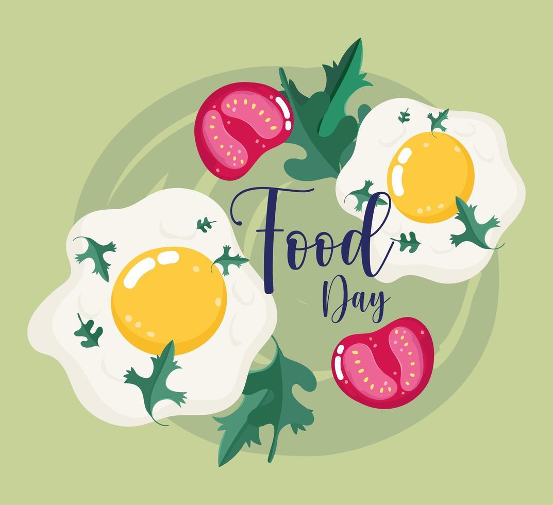 comida fresca. ovos fritos e fatias de tomate vetor