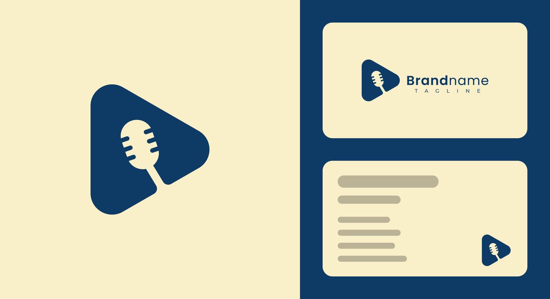 modelo de cartão de visita de microfone simples e moderno vetor