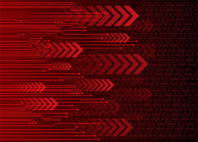 conceito de tecnologia futura de circuito cibernético seta vermelha vetor