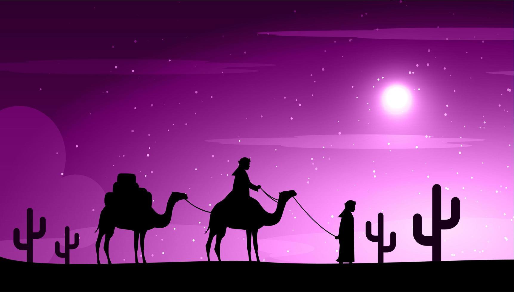 camelos no deserto à noite sob a lua vetor