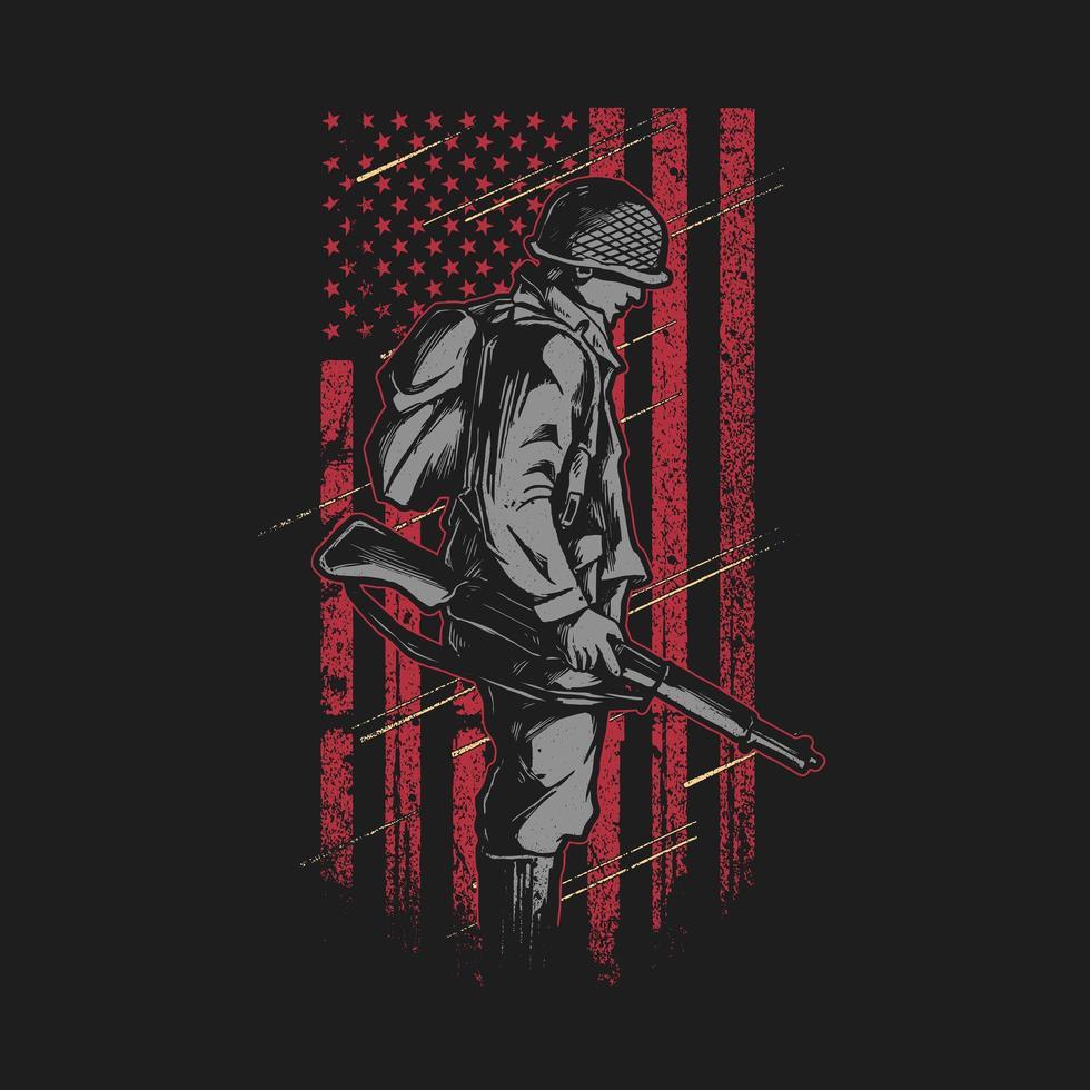 soldado com bandeira americana grunge vetor