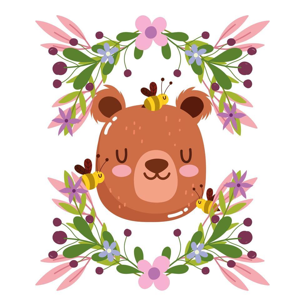 cabeça de urso fofa com decoração de flores e folhagem vetor