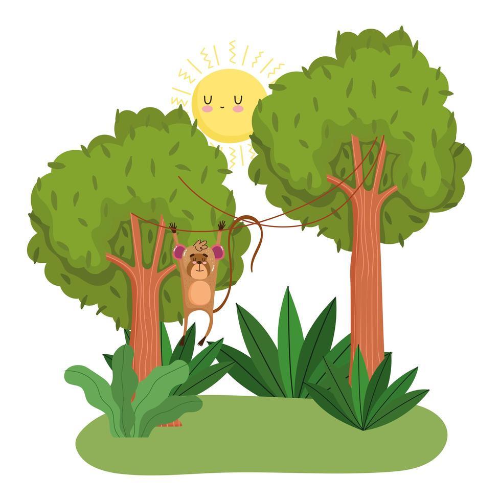 macaco fofo pendurado nas árvores vetor