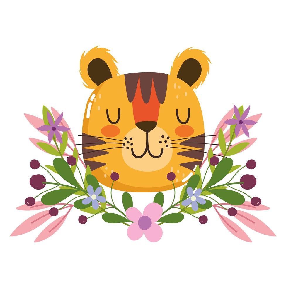 Cabeça de tigre fofa com decoração de flores e folhagem vetor