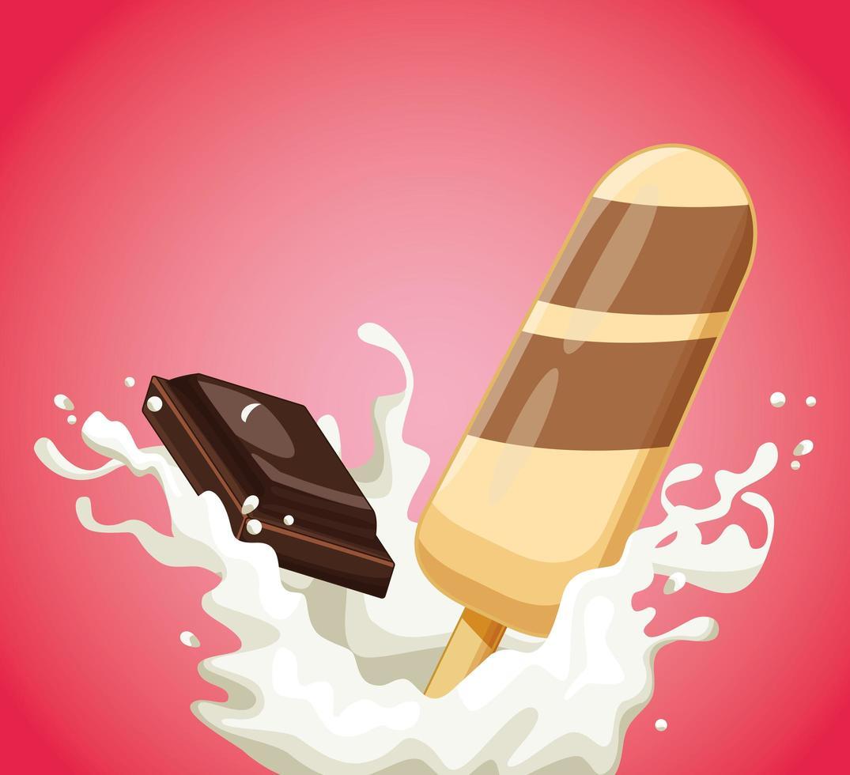 barra de sorvete com leite e chocolate vetor