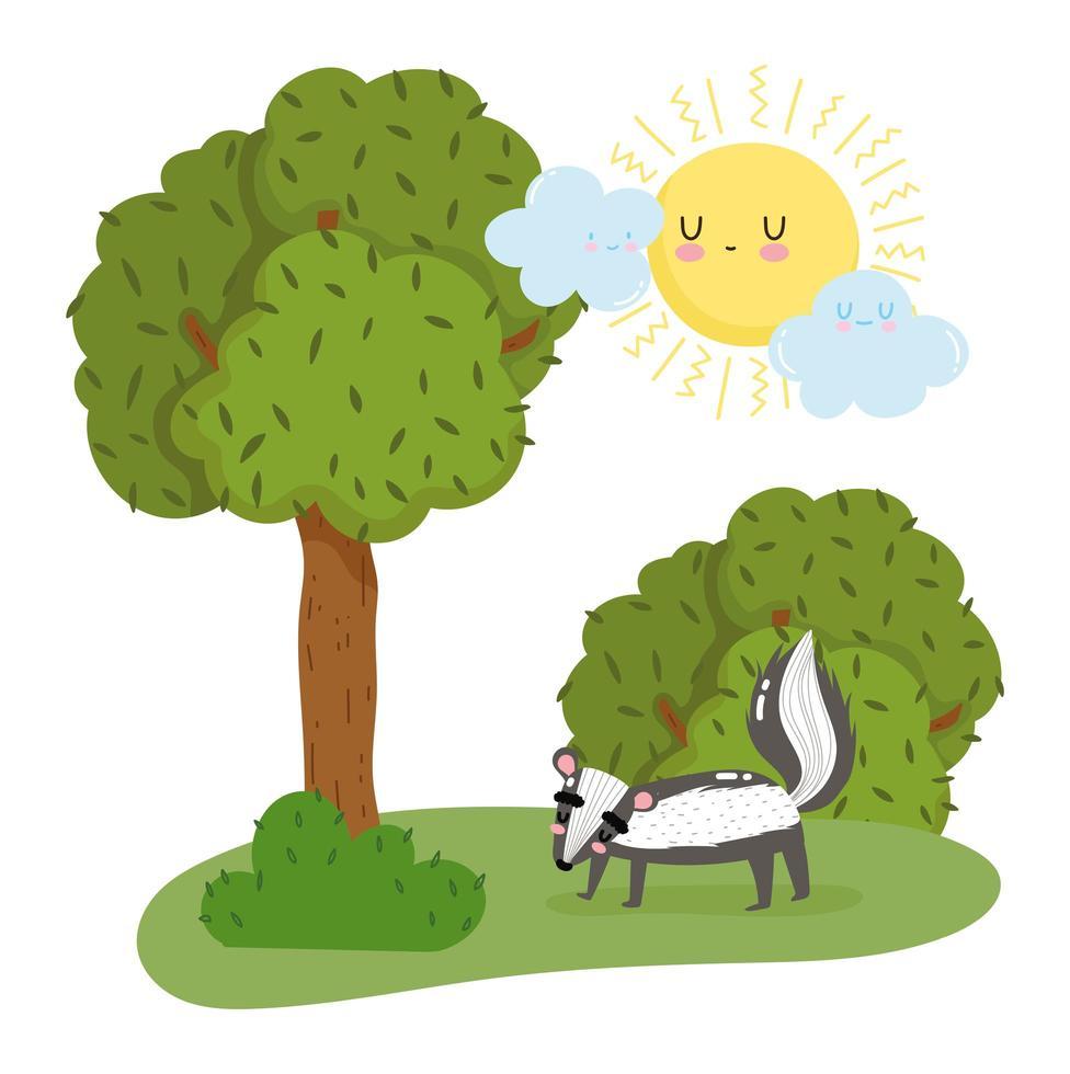 skunk fofo na árvore vetor