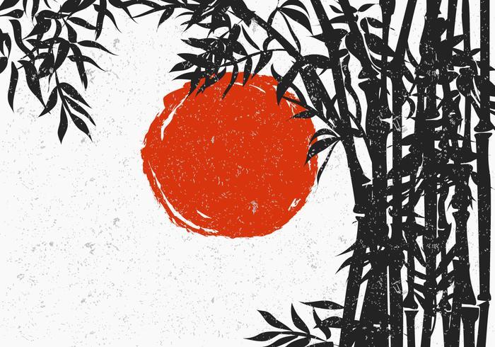 Silhueta de bambu com Red Sun vetor