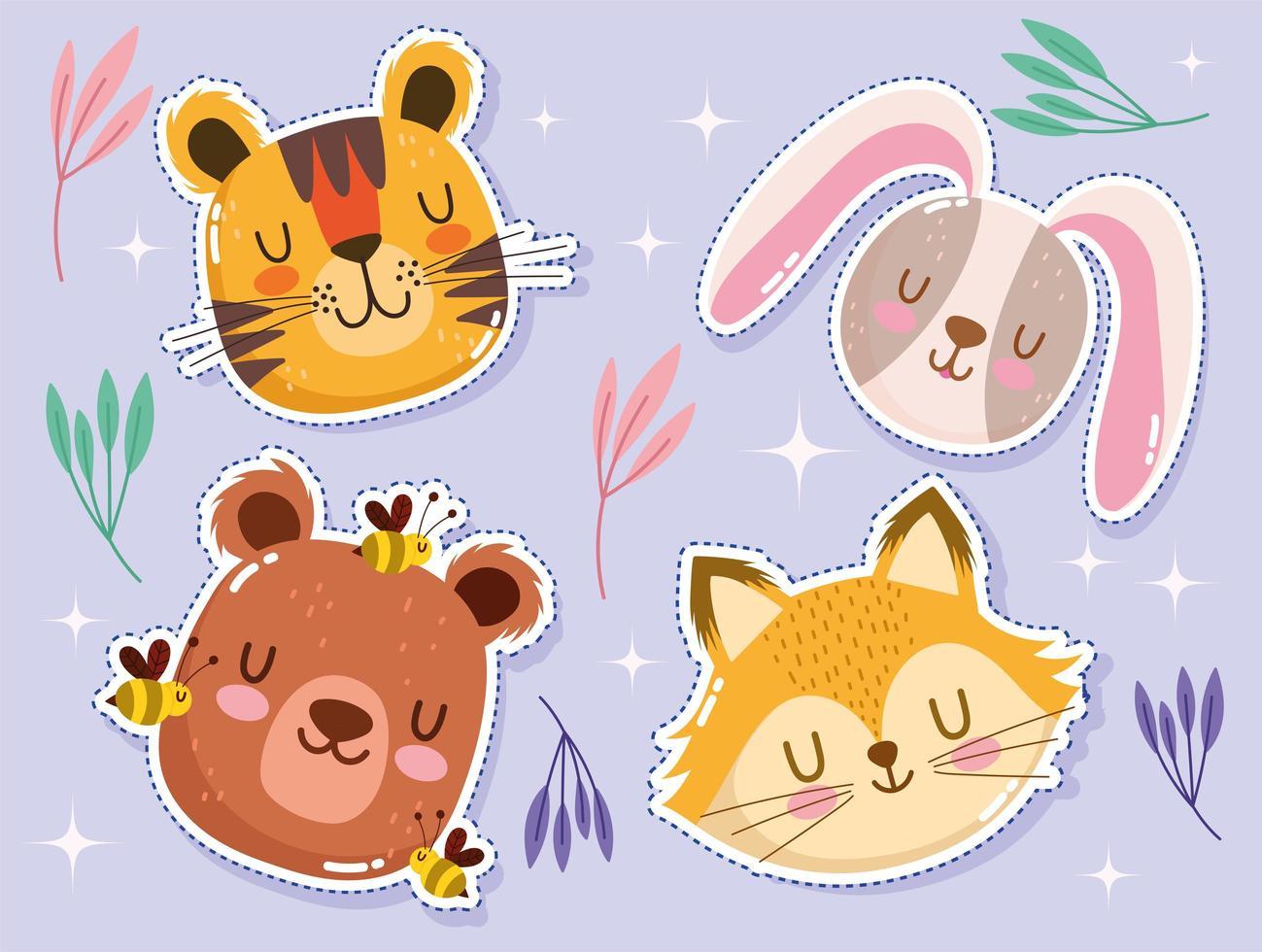 adorável tigre, coelho, raposa, urso e abelhas vetor
