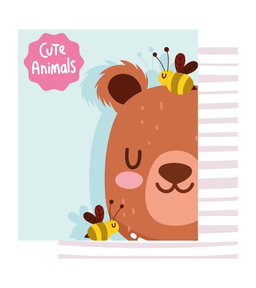 adorável cara de urso fofo com cartão de abelhas vetor