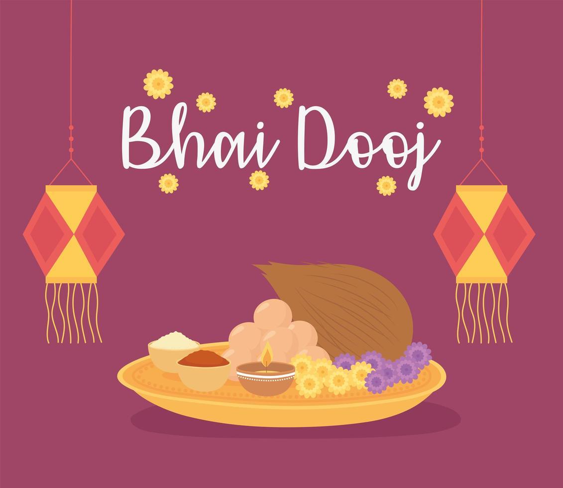 feliz bhai dooj. lanternas, flores e comida tradicional vetor