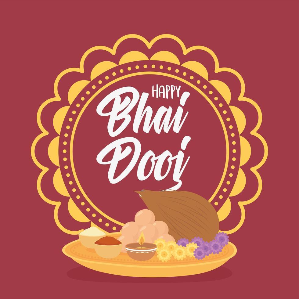 feliz bhai dooj. mandala, comida e celebração indígena vetor