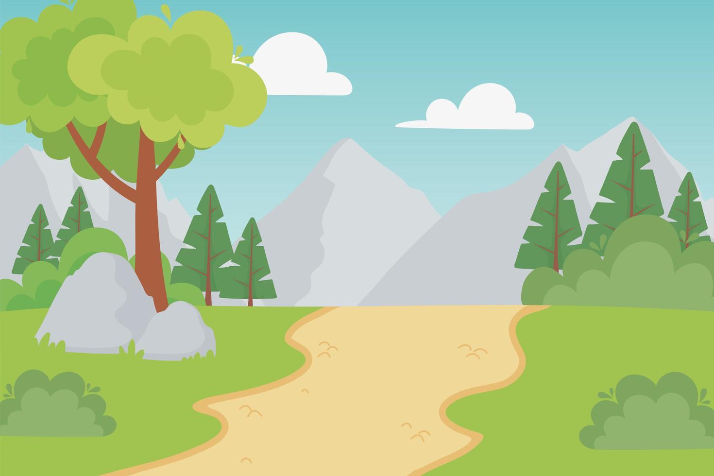 paisagem de montanhas rochosas com caminho rural e pedras vetor
