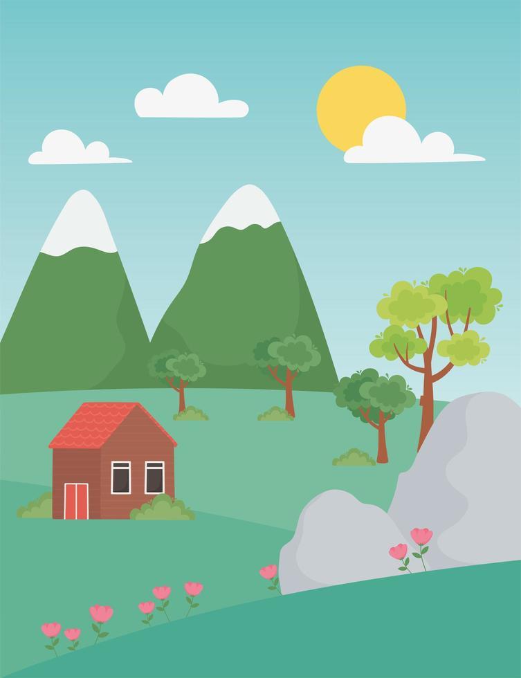 paisagem casa rural com flores, pedras e montanhas vetor
