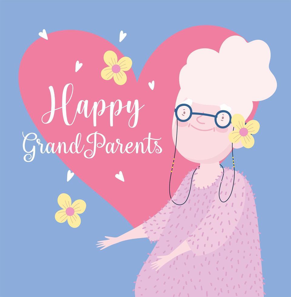 feliz dia dos avós. vovó com corações e flores vetor
