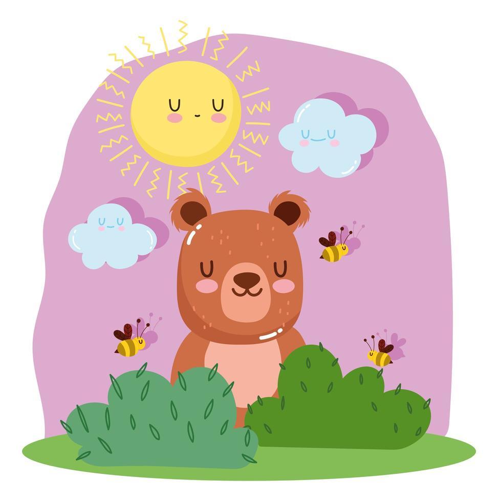 ursinho com abelhas, grama, sol e nuvens vetor