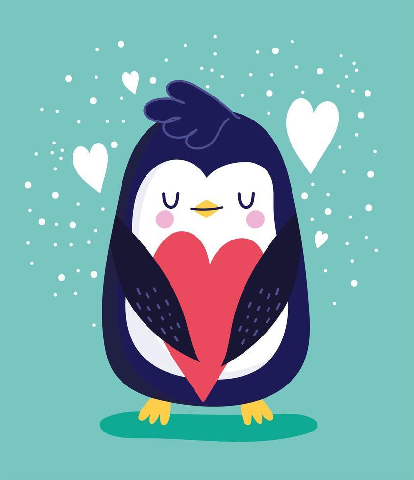 pássaro pinguim com coração de amor vetor