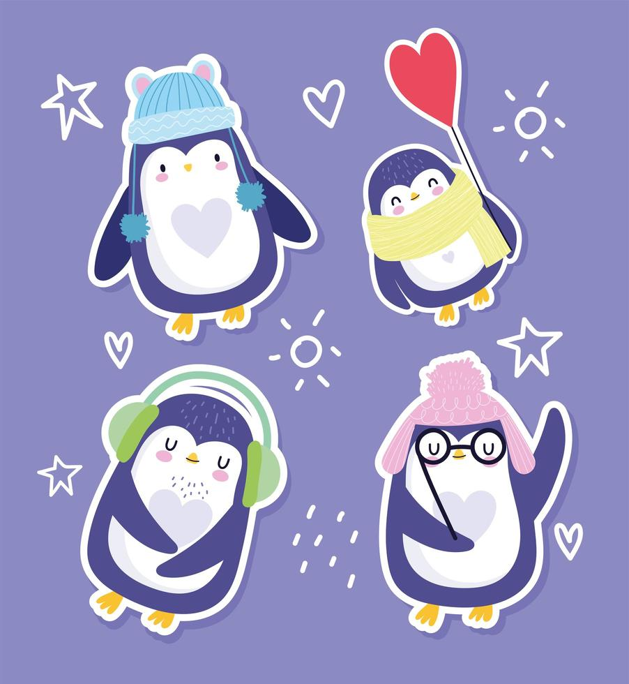 pinguins engraçados com chapéus, óculos e lenço vetor