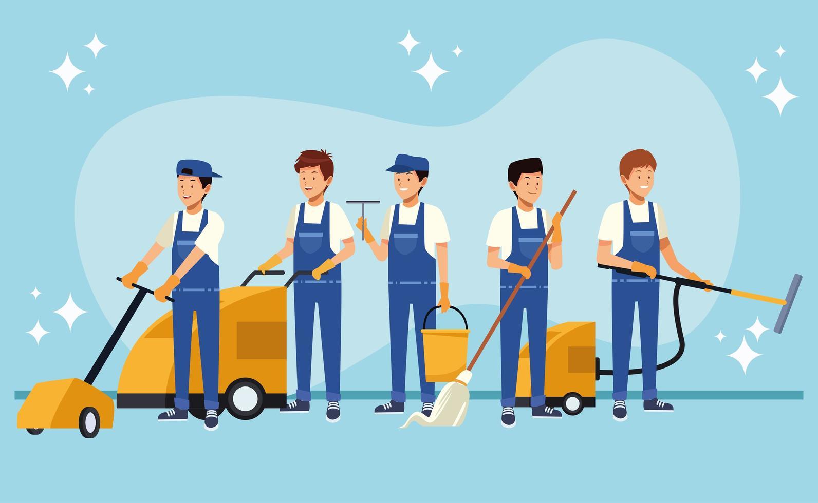 trabalhadores domésticos do sexo masculino com equipamento vetor