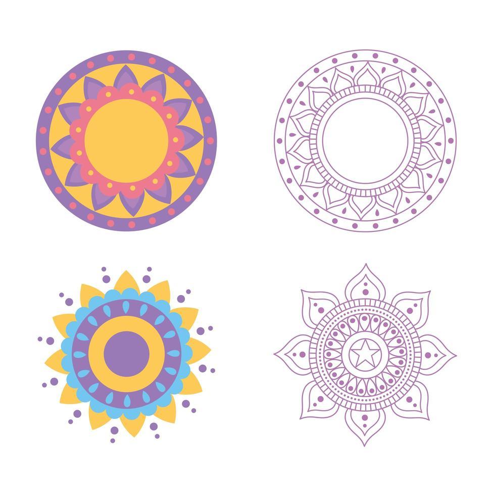 conjunto de design floral mandala decoração isolada vetor