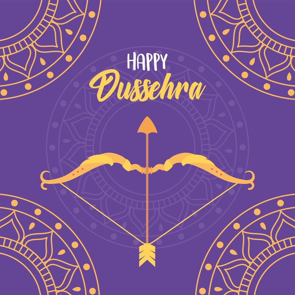 feliz festival dussehra. mandalas, arco e flecha de ouro vetor