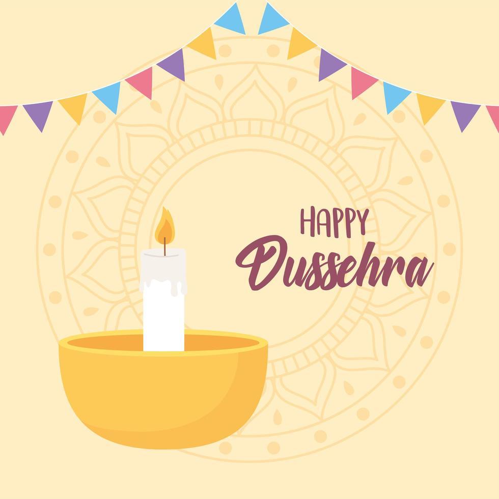 feliz festival dussehra. lâmpada diya e decoração de bandeirolas vetor
