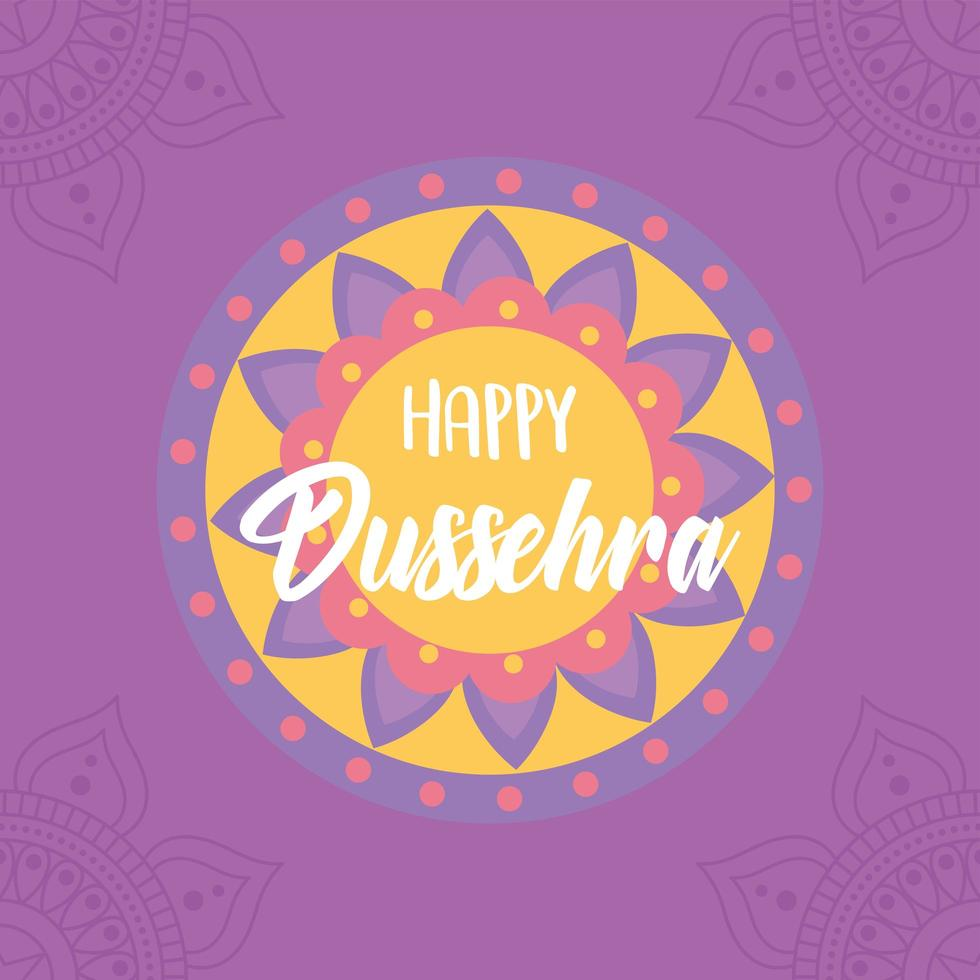 feliz festival dussehra da índia. cartão tradicional mandala vetor