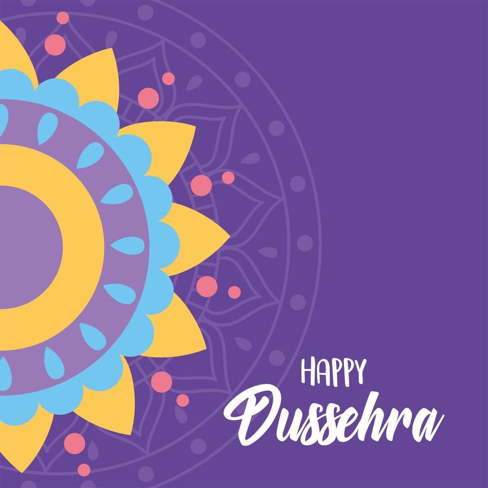 feliz festival dussehra da índia. decoração de mandala colorida. vetor