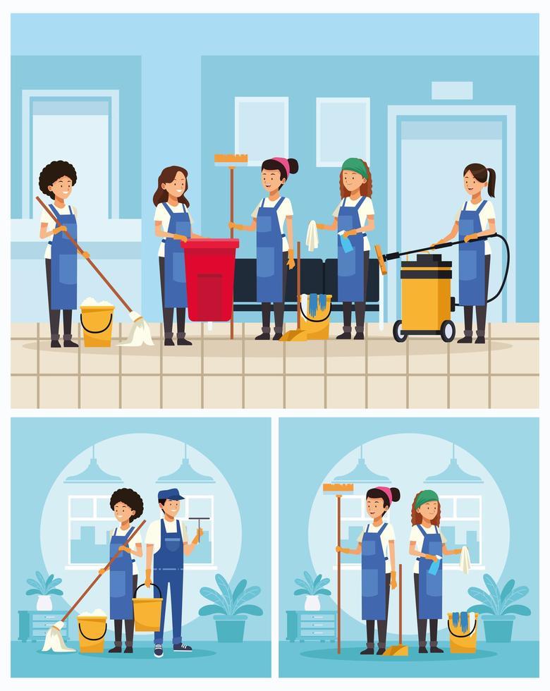 conjunto de trabalhadores da equipe de limpeza de escritório vetor