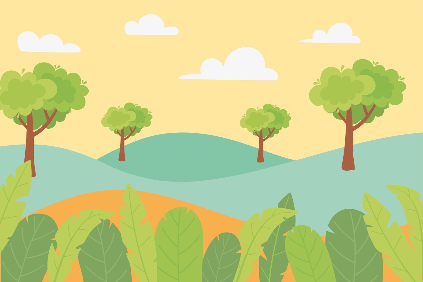 paisagem de colinas, árvores, folhas, folhagens e prados vetor
