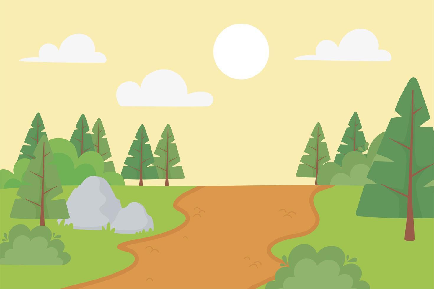 paisagem de pinheiros, caminho, pedras e arbustos vetor