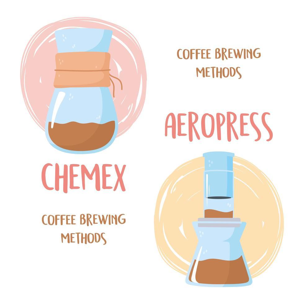 métodos de preparação do café. processos chemex e aeropress vetor