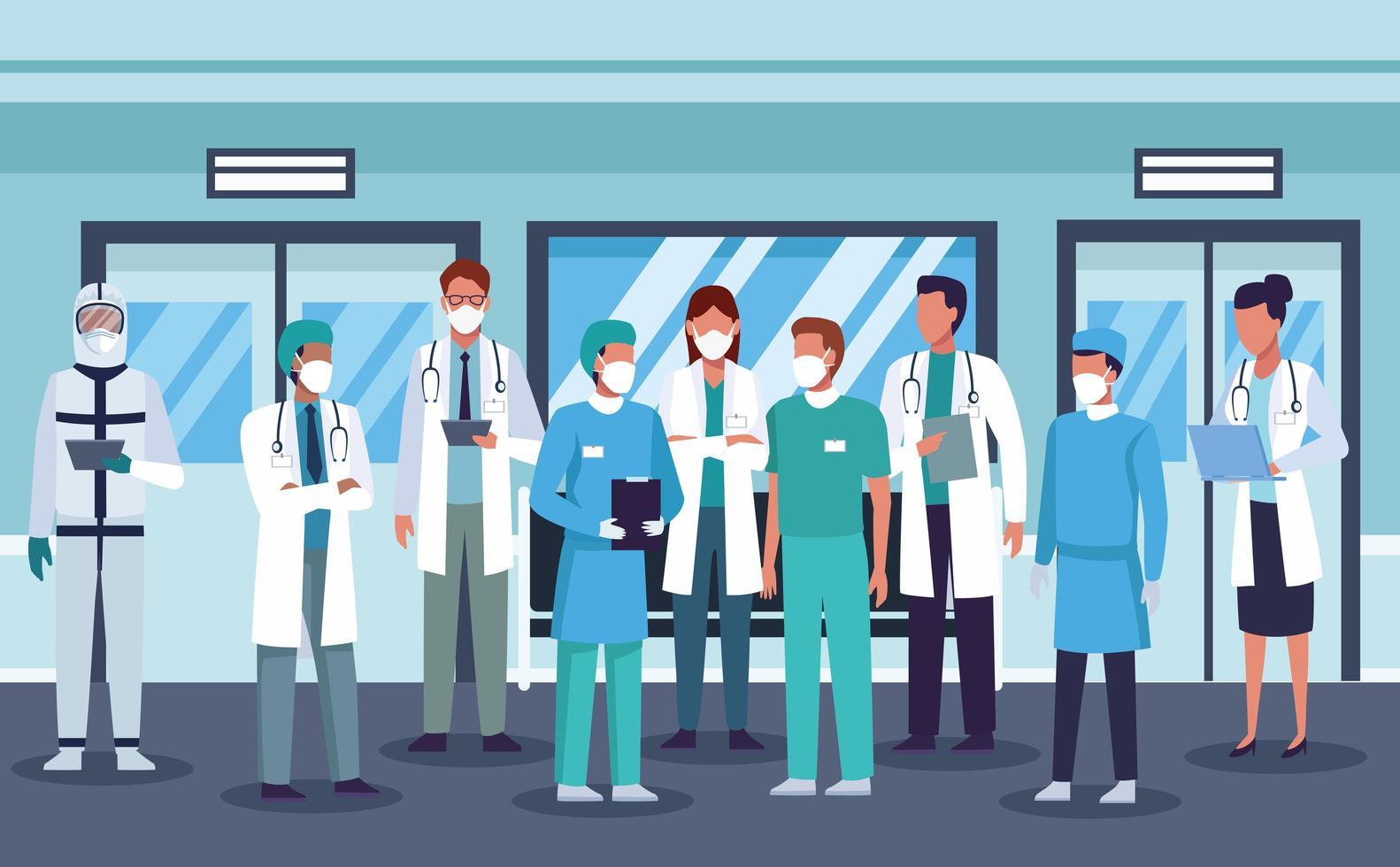 grande grupo de profissionais da área médica usando máscaras vetor