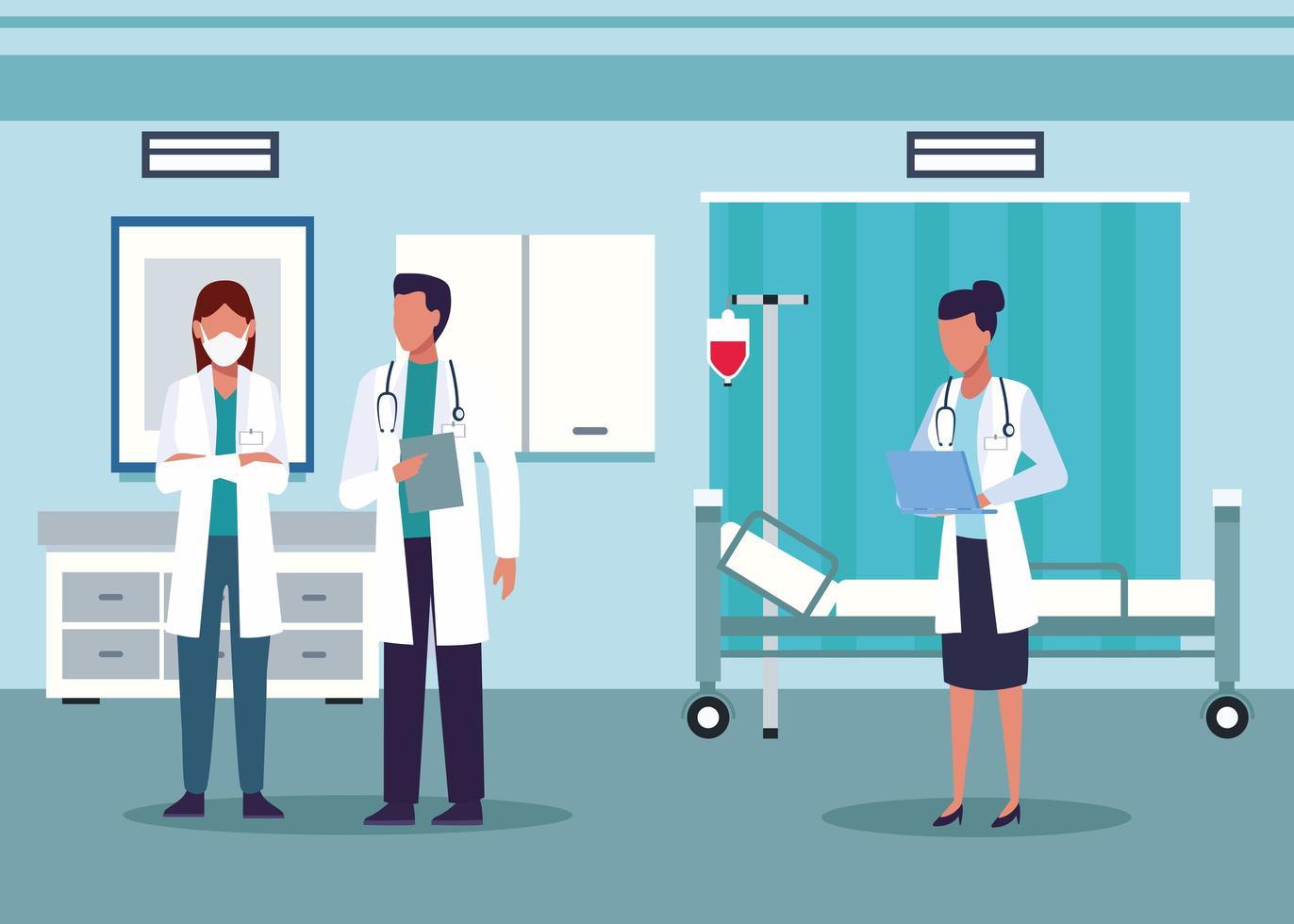 grupo de diversos médicos em quarto de hospital vetor