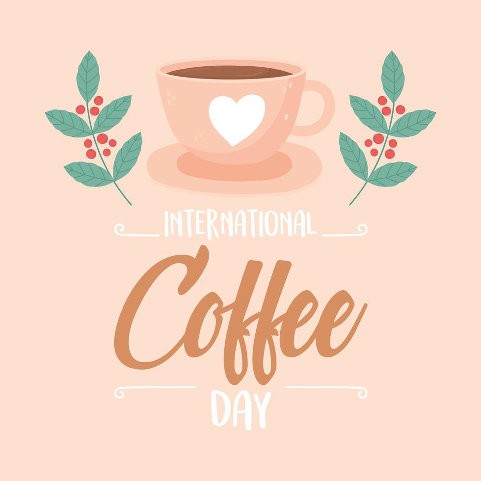 dia internacional do café. pôster de xícara, ramos e sementes vetor