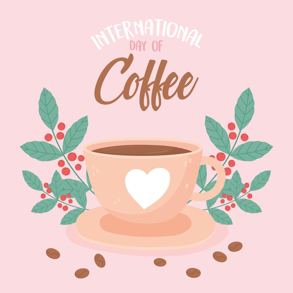 dia internacional do café. bebida, sementes frescas e folhas vetor